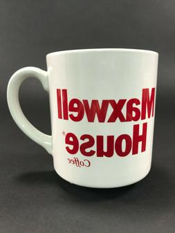 Maxwell House Coffee 12 oz Mug Cup White w/Red Lettering Eng