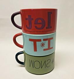 3 Christmas coffee/tea mugs 8 0z each Let It Snow stack-able