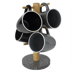 6 Cup Bamboo Coffee Cup Mug Tree Holder Stand with Granite B