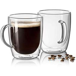 JECOBI 17 oz Large Coffee Mug - Double Wall Insulated Glass,