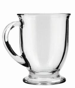 Anchor Hocking Café Glass Coffee Mugs, Clear, 16 oz  - Dish