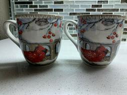 Cracker Barrel Cardinal Bird Winter Holiday Mugs coffee Susa