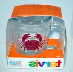 Tervis Crab Mug NEW Red Embroidered Beach Nautical Hot Cold