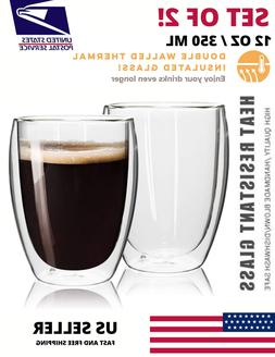 Double Wall Insulated Strong Glass Coffee Cup 350ML 12OZ Mug