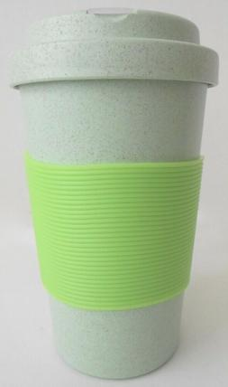 Eco Friendly GREEN Travel Cup with Sleeve Wheat Straw BPA Fr