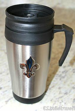 Fleur de lis Stainless Steel Insulated Liner Travel Coffee M