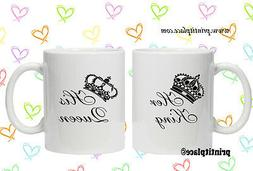 King And Queen His And Hers Mug Set Christmas / Valentines D