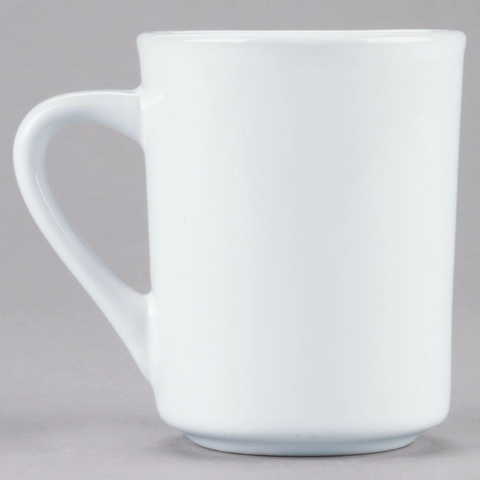8 oz. Bright White Rolled Edge Porcelain China Coffee Mugs