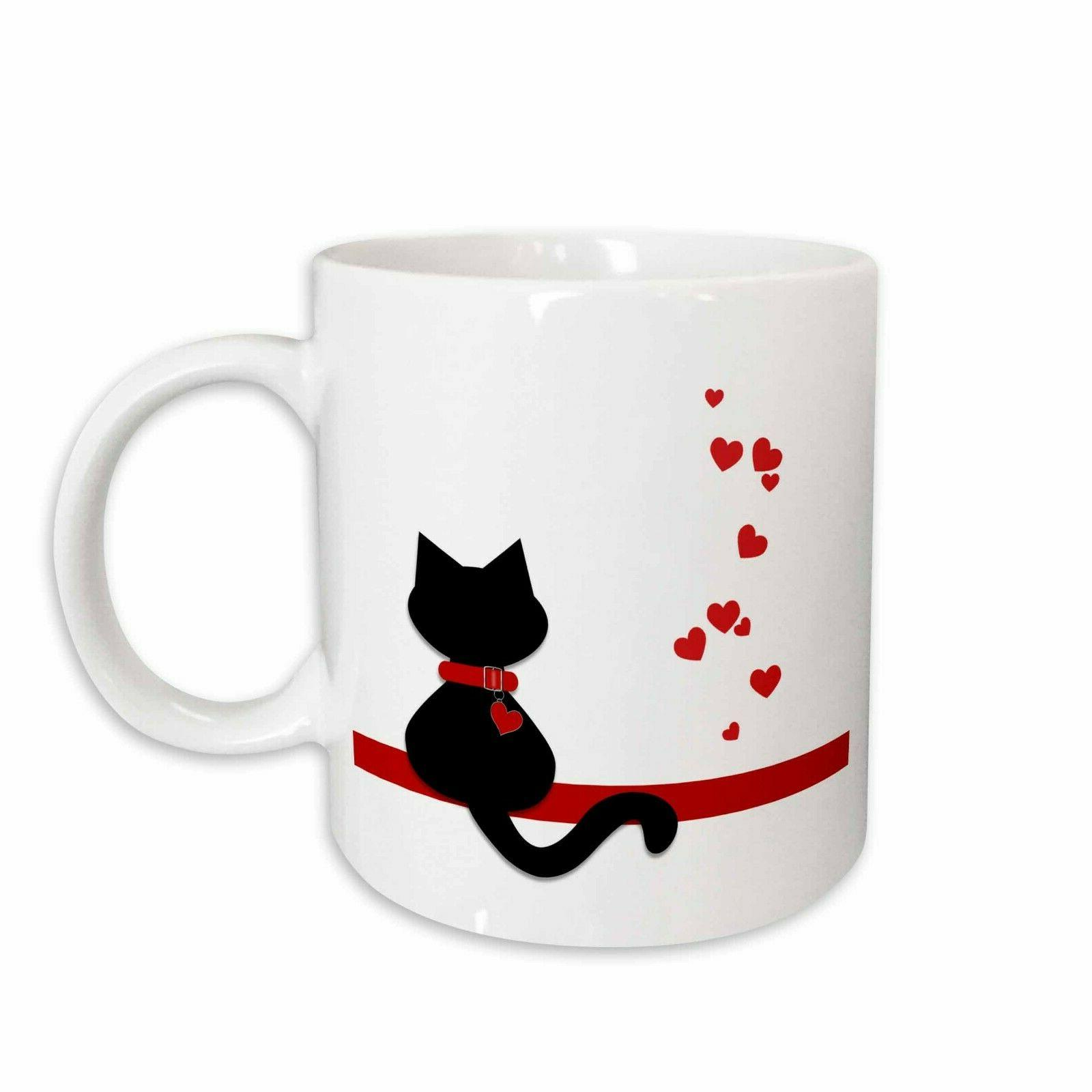 3drose pet lovers red hearts black kitty