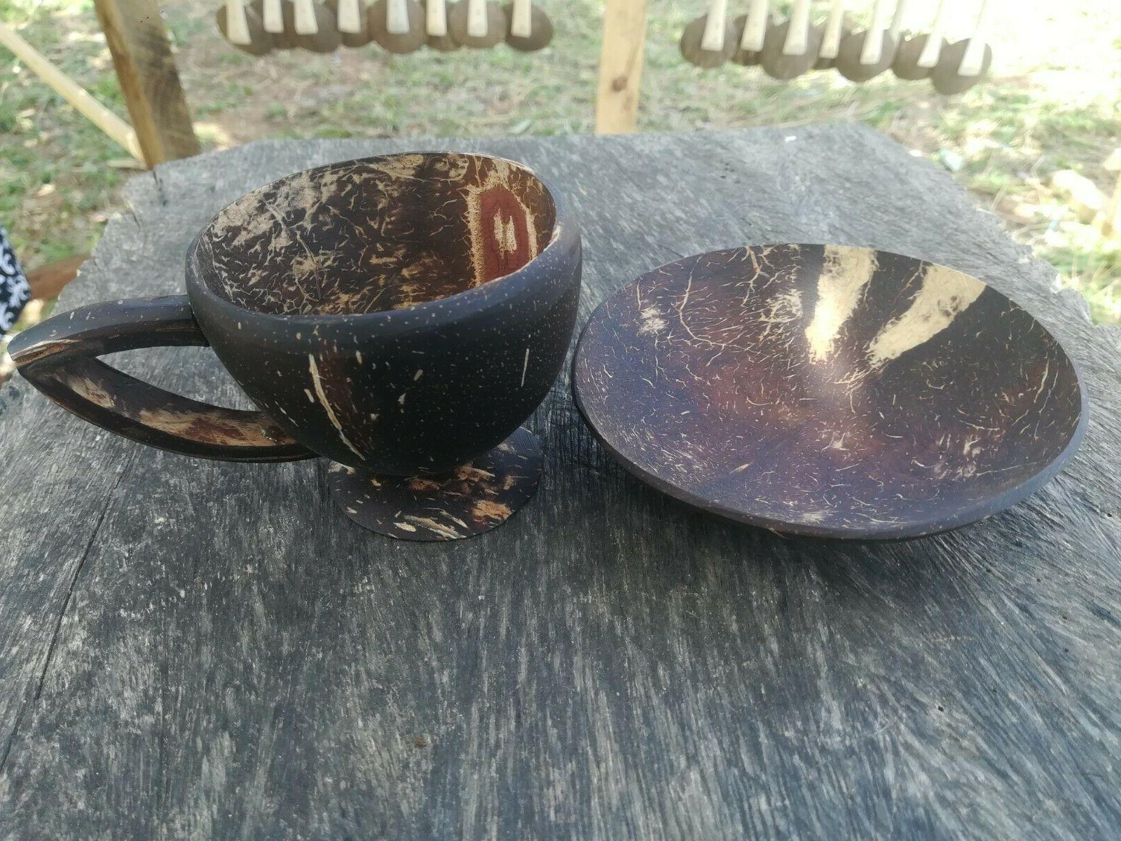 coconut shell tea coffee cup with sauce
