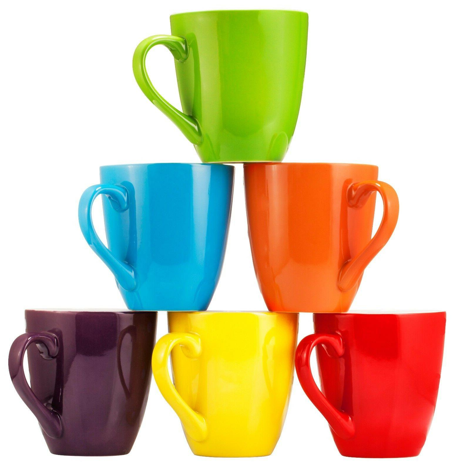 Bruntmor Ceramic Coffee Cups Mugs Set of 6 Large-sized Mugs