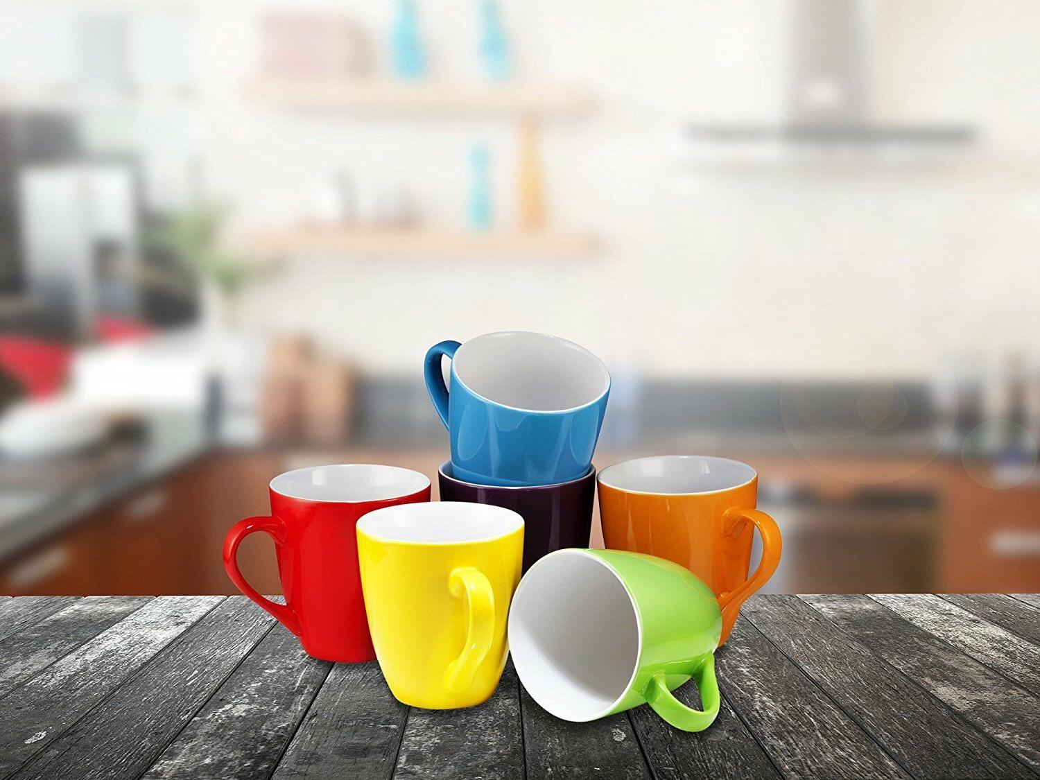 Coffee of 6 Large-sized Ounce Ceramic Coffee Multi-Color