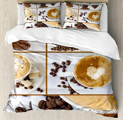coffee duvet cover set with pillow shams