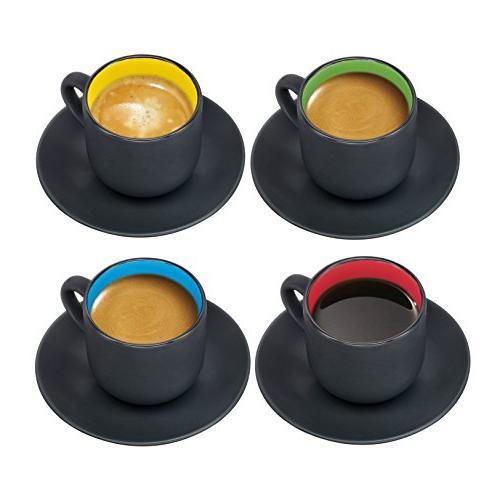 Espresso Saucers by ounce Exterior, Solid Interior - of 4