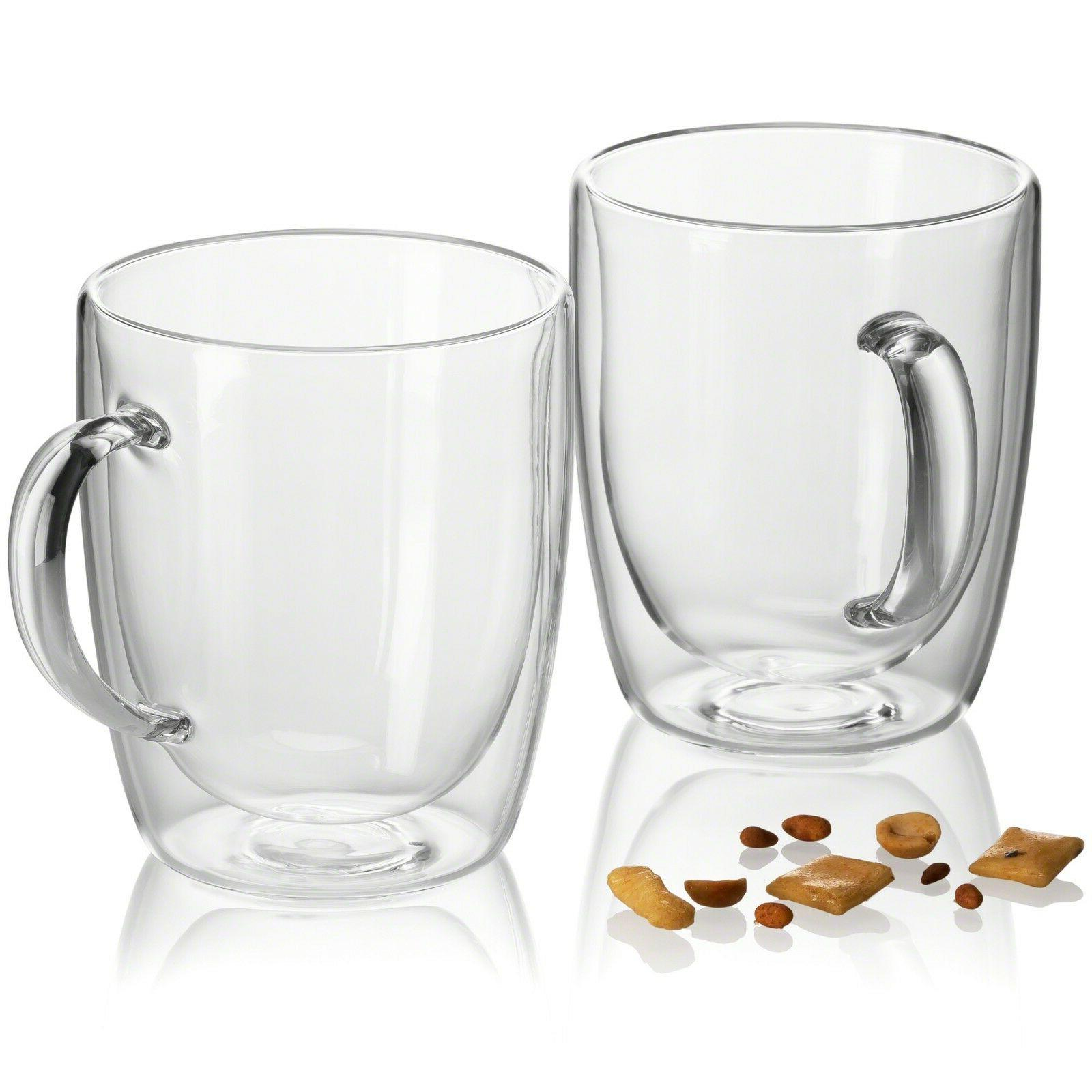 JECOBI Strong Glass Double Wall Tea Espresso Cup 14 oz Set