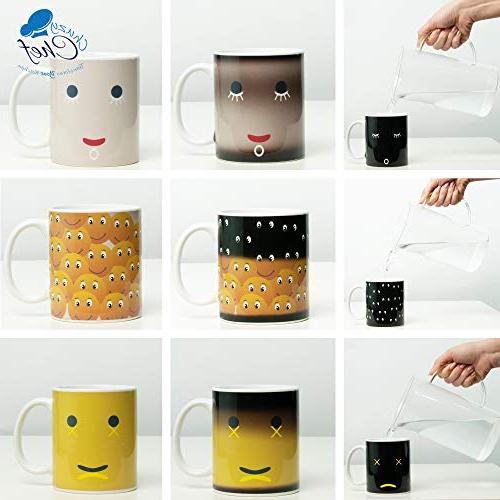 Heat Coffee Magic Mugs - of Color Unique Changing 12 oz Yellow Happy Smiley Design Mugs Gift Mom Men 3