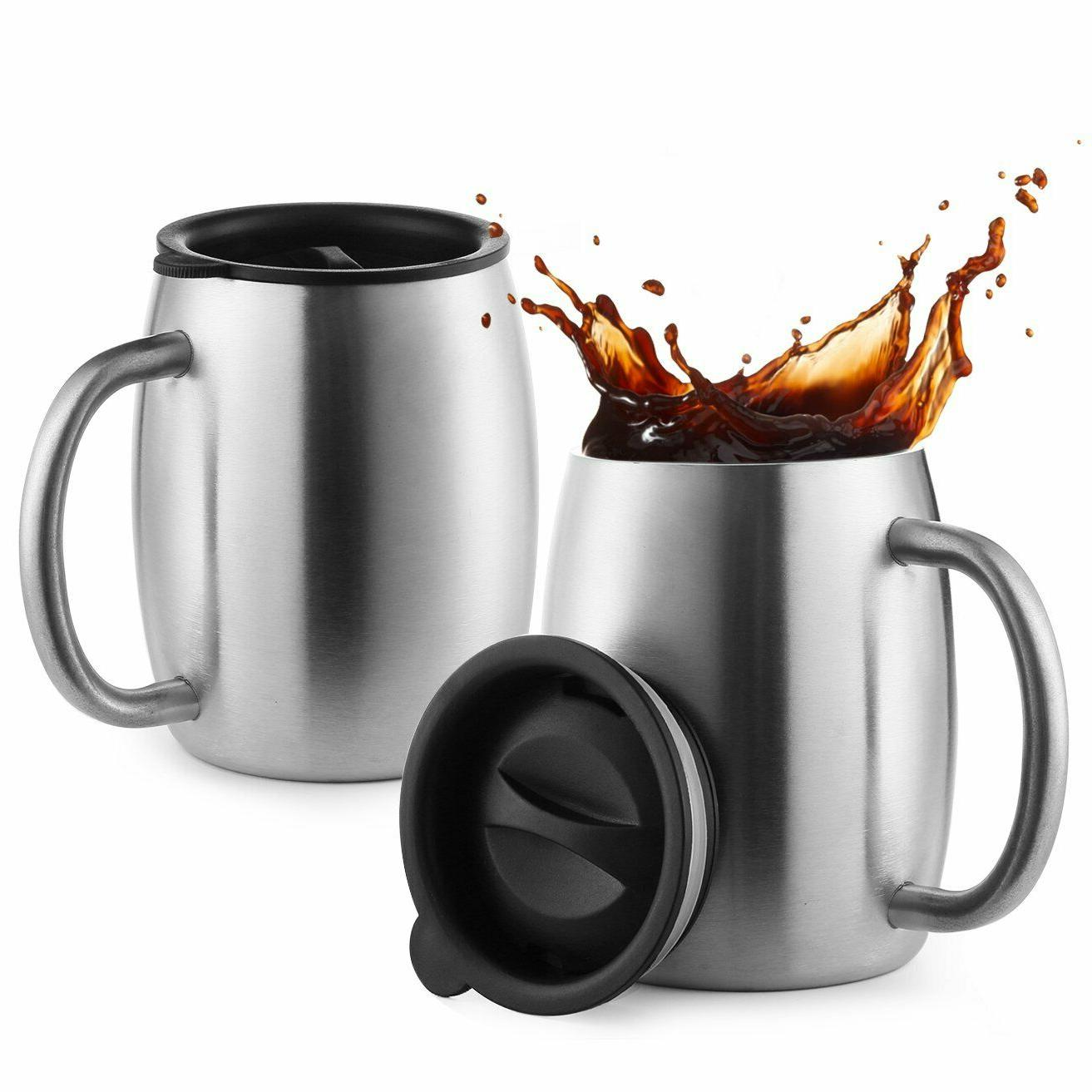 Stainless Steel Coffee Mugs with Spill Resistant Lids, 14 Oz