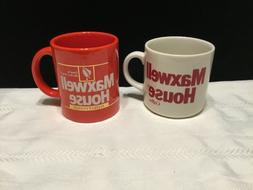 Lot of 2 Vintage Ceramic Maxwell House Red White Coffee Cup