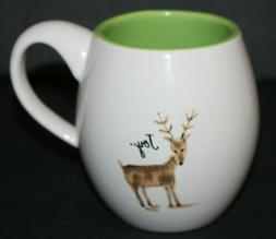 RAE DUNN MAGENTA Deer Joy Coffee MUG Tea Cup Outdoor Woods H