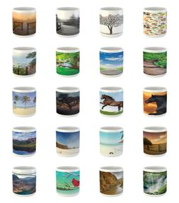 Ambesonne Nature Panorama Ceramic Coffee Mug Cup for Water T