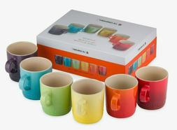 NEW in BOX Le Creuset 6 PC SET Rainbow Mugs Ombre Mug Red Ye
