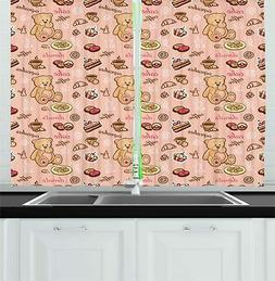 retro drawing kitchen curtains 2 panel set