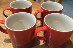 Set Of 4 Le Creuset Cerise Cherry Red Coffee Mugs