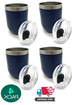 SET OF 4 Insulated Stainless Steel Tumbler With Lid 12OZ Dou
