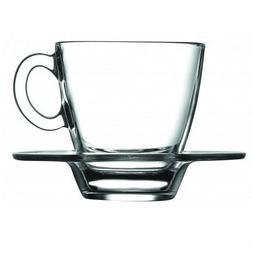 SET OF 6 Clear Glass Expresso Coffee Cups with Saucers Small