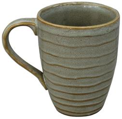 Set of 6 Large Coffee Mugs Rippled Speckled Sage Stoneware 2