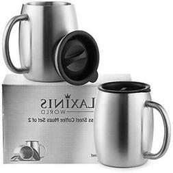 Stainless Coffee Cups & Mugs Steel With Spill Resistant Lids
