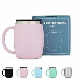 AVITO Stainless Steel Coffee Mug with Lid - 14 Oz Double Wal
