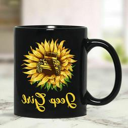 Sunflower Jeep Girl - 11oz Coffee Mug Best Gifts For Girls