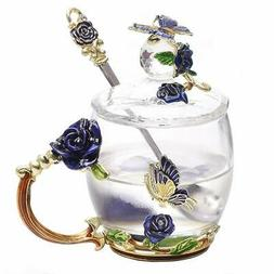 Lilyss Tea Cups Coffee Mug with Lid Spoon for Women Girls Un