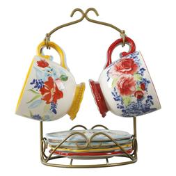 The Pioneer Woman FLORAL MEDLEY MUG RACK w/APPETIZER PLATES