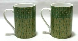 222 FifthTheorie Green Coffee Mugs Gold Accents Set of Two N