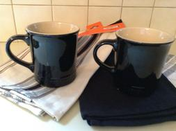 TWO  LE CREUSET  BLACK 12 OZ. COFFEE MUGS  NEW/TAGS
