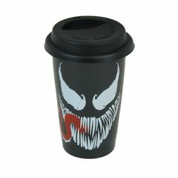 VENOM MARVEL TRAVEL MUG SILICONE LID CERAMIC CUP COFFEE TEA