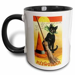 3dRose  Vintage Halloween Black Cat Broom and Witch's Hat -
