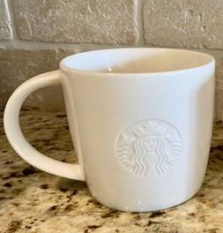 Starbucks White G Grande 16 oz Coffee Mug Embossed Siren 201